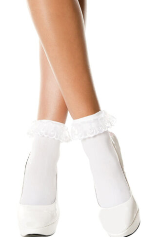 Opaque Anklet with Ruffled Lace White