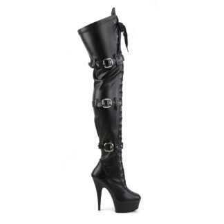 """Pleaser 6"""" Delight 3028 Buckle Thigh High Boot - Matte Black Right"""