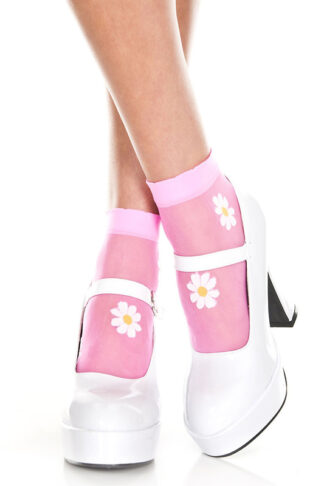 Flower Design Sheer Anklet Neon Pink Socks