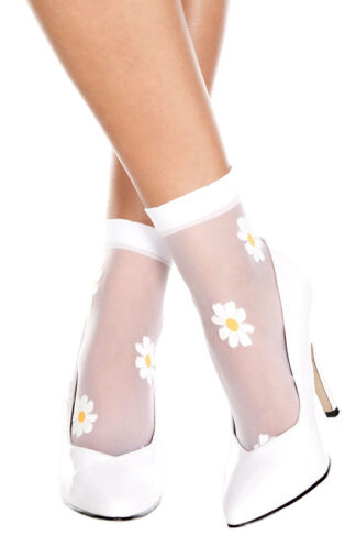 Flower Design Sheer Anklet White Socks