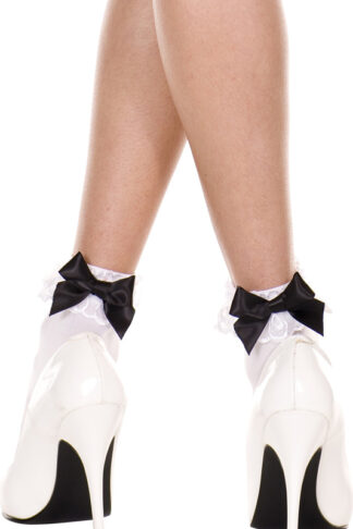 Opaque Lace Ruffle Anklet with Satin Bow Black Satin Bow on White