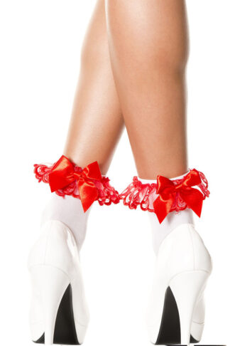 Opaque Lace Ruffle Anklet with Satin Bow Red Satin Bow on White