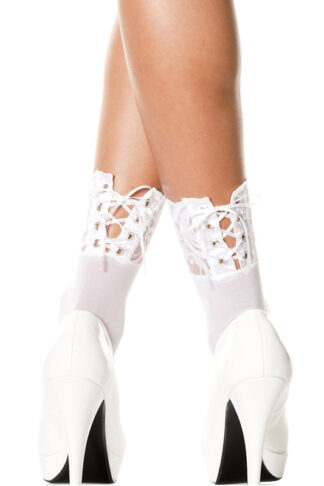 Opaque Lace Up Anklet Socks White