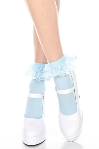 Ankle High with Ruffle Trim Socks Baby Blue
