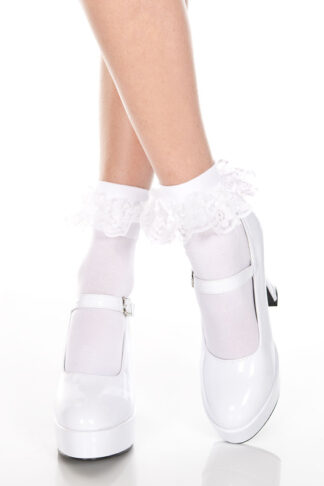 Ankle High with Ruffle Trim Socks White