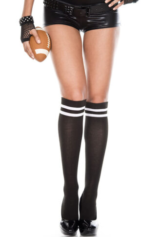 Acrylic Knee High with Double Striped Top 2 White stripe on Black