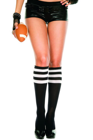 Knee High with Striped Top 3 White Stripe on Black