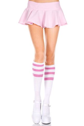 Knee High with Striped Top 3 Pink Stripe on White