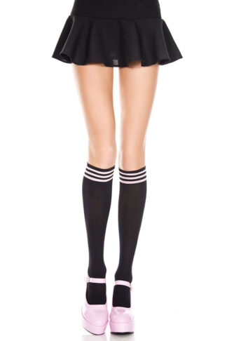 Striped Top Opaque Knee 3 Baby Pink Stripe on Black High