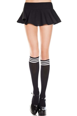 Striped Top Opaque Knee High 3 White Stripe on Black