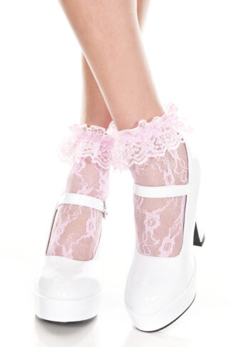 Lace Ruffle Ankle High Baby Pink Socks
