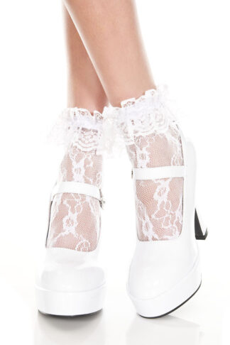 Lace Ruffle Ankle High White Socks