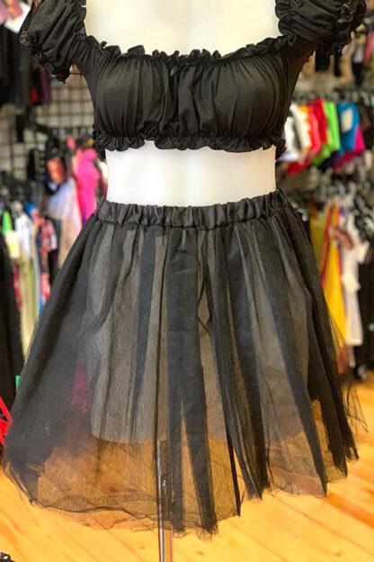 5 Layers Tutu Tulle Petticoat Skirt - Black Front