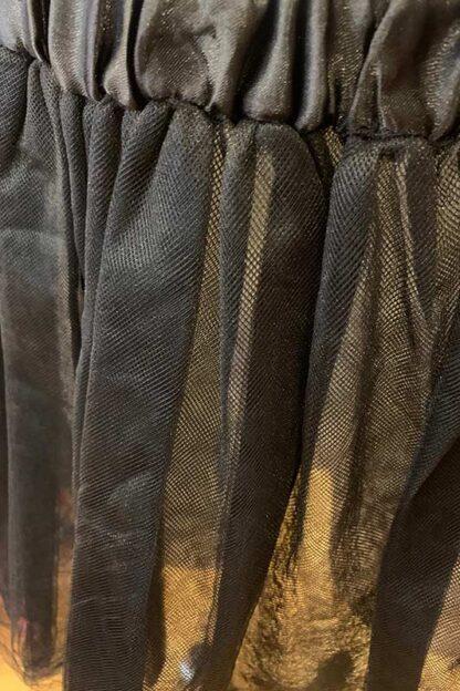 5 Layers Tutu Tulle Petticoat Skirt - Black Close