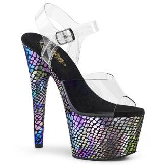 """Pleaser 7"""" Adore 708SP Sandal - Purple Hologram Snake Platform"""