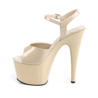 """Pleaser 7"""" Adore 709 Sandal - Patent Cream Left"""