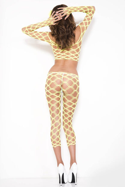 Multi Net Top and Tights - Comes in 7 Colors Neon Yellow Back2