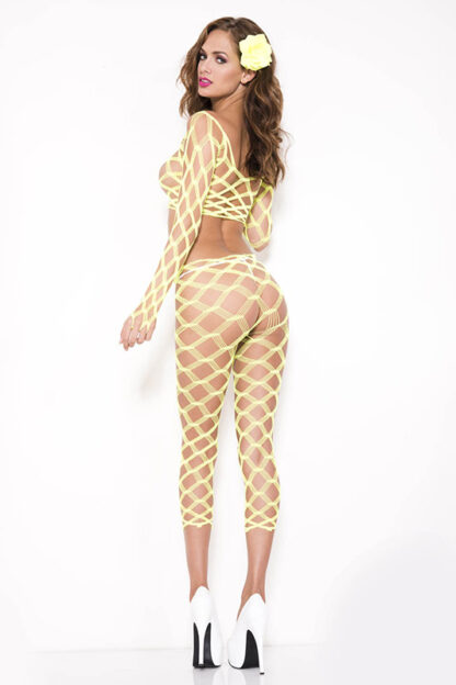Multi Net Top and Tights - Comes in 7 Colors Neon Yellow Back3