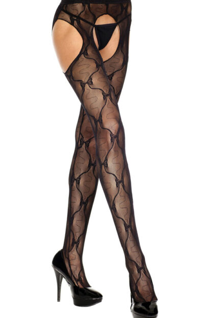 Bow Lace Suspender Pantyhose 933 Black
