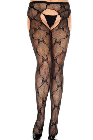 Bow Lace Suspender Pantyhose Queen Size 933 Black