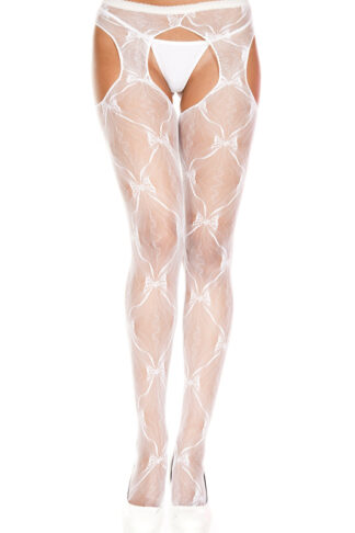 Bow Lace Suspender Pantyhose 933 White