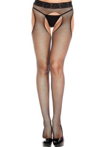 Lace Waist Fishnet Suspender Pantyhose 953 Black
