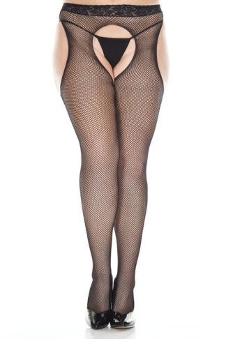 Lace Waist Fishnet Suspender Pantyhose Queen Size 953 Black