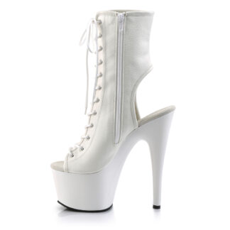 "Pleaser 7"" Adore 1016 Ankle Boot Matte White Shoes Left Angle"