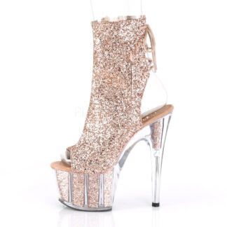 "Pleaser 7"" Adore 1018 Ankle Boot Glitter Rose Gold Left Angle"