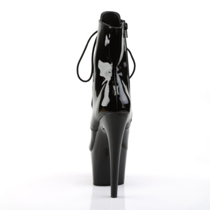 """Pleaser 7"""" Adore 1020 Ankle Boots patent Black Back Angle"""
