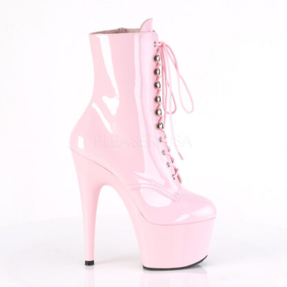 "Pleaser 7"" Adore 1020 Ankle Boots Patent Baby Pink Right Angle"