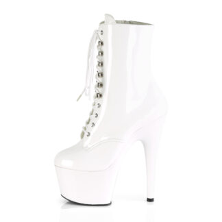 "Pleaser 7"" Adore 1020 Ankle Boots Patent White Left Angle"