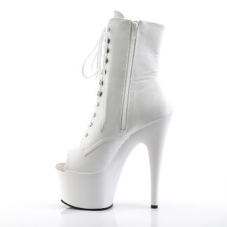 "Pleaser 7"" Adore 1021 Ankle Boot - Matte White Left Side"