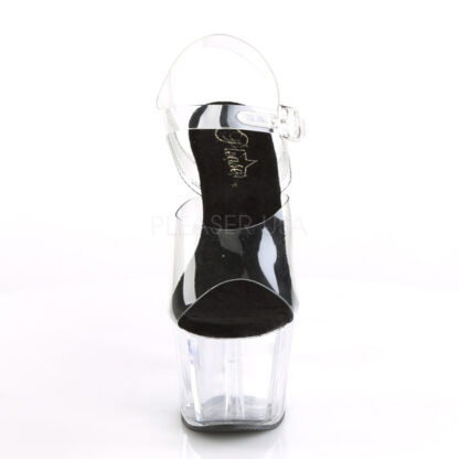 """Pleaser 7"""" Adore 708 Sandal - Clear Top/ Black Foot / Clear Platform Front Angle"""