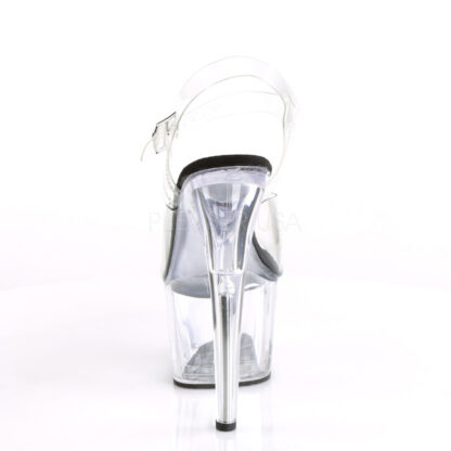 """Pleaser 7"""" Adore 708 Sandal - Clear Top/ Black Foot / Clear Platform Back Angle"""
