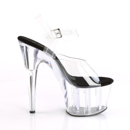 """Pleaser 7"""" Adore 708 Sandal - Clear Top/ Black Foot / Clear Platform Right Angle"""