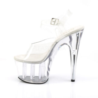 "Pleaser 7"" Adore 708 Sandal - Clear Top/ Clear Foot / Clear Platform Left Angle"
