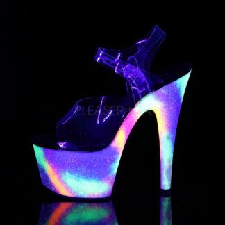 "Pleaser 7"" Adore 708GXY Sandal Neon Galaxy Platform Left Angle"