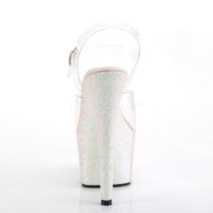 "Pleaser 7"" Adore 708HMG Sandal Holographic Multi Glitter Opal Back Angle"