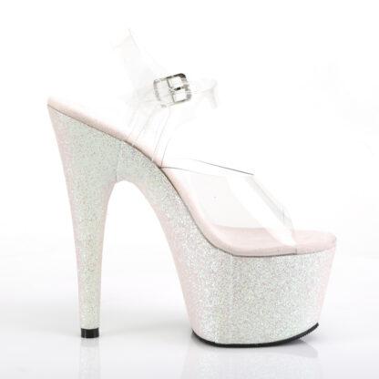 "Pleaser 7"" Adore 708HMG Sandal Holographic Multi Glitter Opal Right Angle"