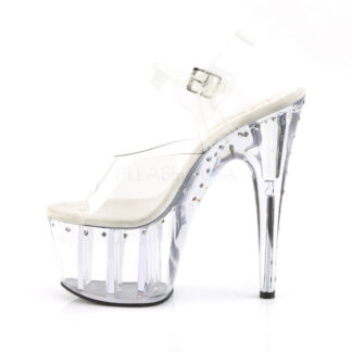 "Pleaser 7"" Adore 708LS One Row Rhinestone Clear Platform & Heel Shoes Left Angle"