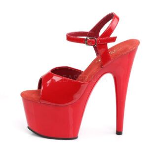 """Pleaser 7"""" Adore 709 Sandal Patent Red Left Angle"""