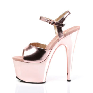 "Pleaser 7"" Adore 709 Sandal Chrome Rose Gold Left Angle"