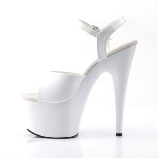 """Pleaser 7"""" Adore 709 Sandal Patent White Right Angle Left Angle"""