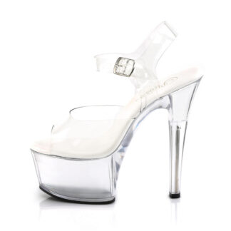 "Pleaser 6"" Aspire 608 Sandal Clear Shoes Left Angle"