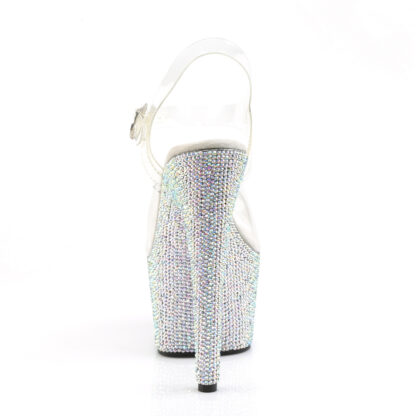 """Pleaser 7"""" Bejeweled 708DM Clear Top with Ankle Strap Shoes Back Angle"""