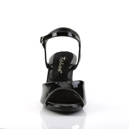 """Fabulicious 3"""" Belle 309 Sandal Patent Black Front Angle"""