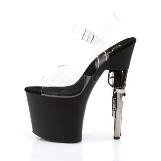 "Pleaser 7"" Bondgirl 708 Clear Top with Ankle Strap Shoes Left Angle"
