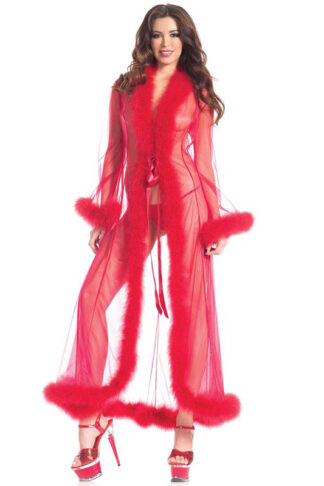 Marabou Sheer long Wrap Red Front Angle