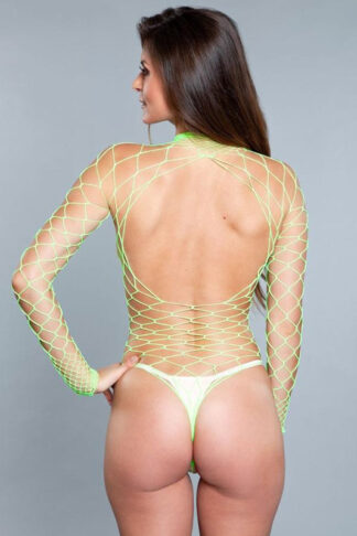 Wide Fishnet Long Sleeve Bodysuit - Neon Green Back